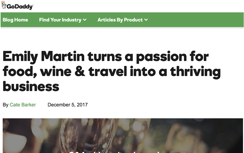 EMILY TURNS A PASSION FOR FOOD WINE & TRAVEL INTO A THRIVING BUSINESS - GODADDY