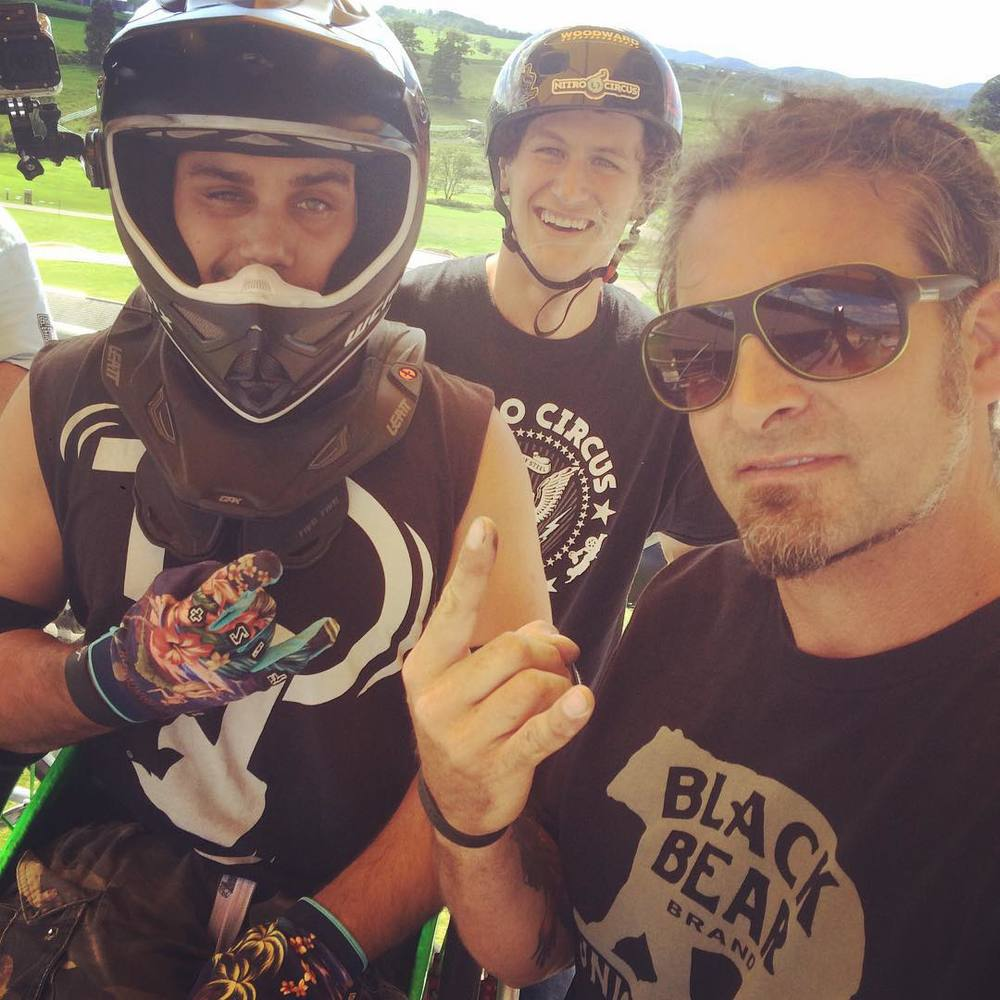 """At the top of the rollin giving inspiration to Wheelz before he drops in to hit the mini mega rail""… Aaron ""Wheelz"" Fotheringham and Brandon Scchmidt (Nitro Circus athletes) - Nathan Wessel"