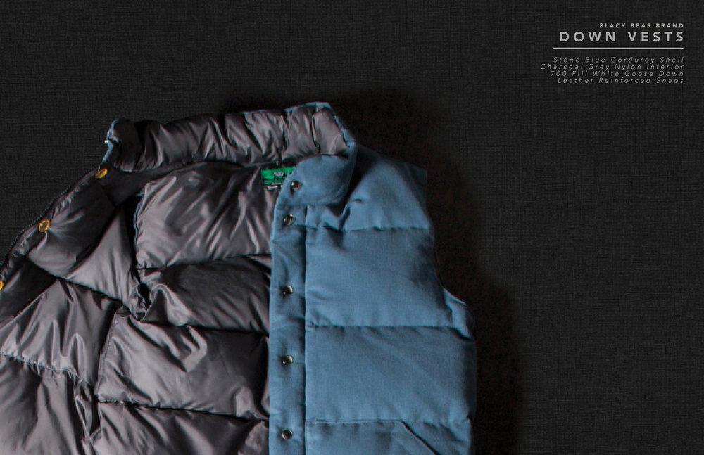 Black Bear Brand down vest in stone blue corduroy
