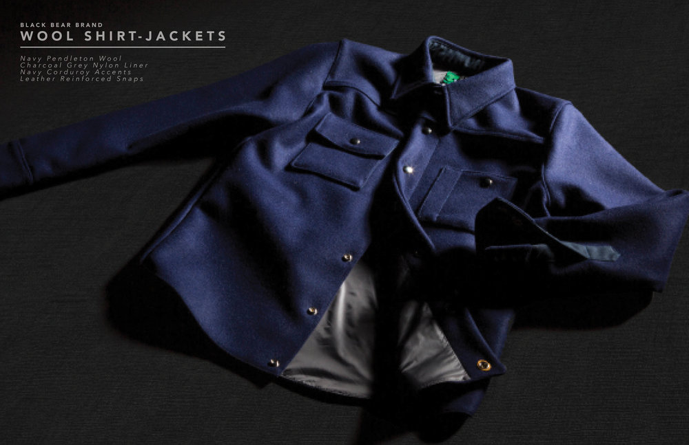 Black Bear Brand wool shirt jacket in navy