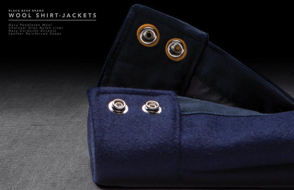 Black Bear Brand wool shirt jacket in navy wool