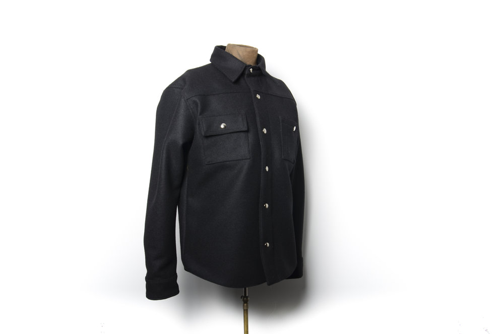 Black Bear Brand black melton Pendleton wool shirt jacket