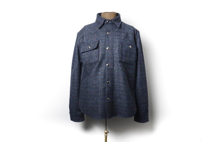 a8a3b8618ce73d Back Bear Brand s signature shirt-jacket x Harris Tweed. — Black ...
