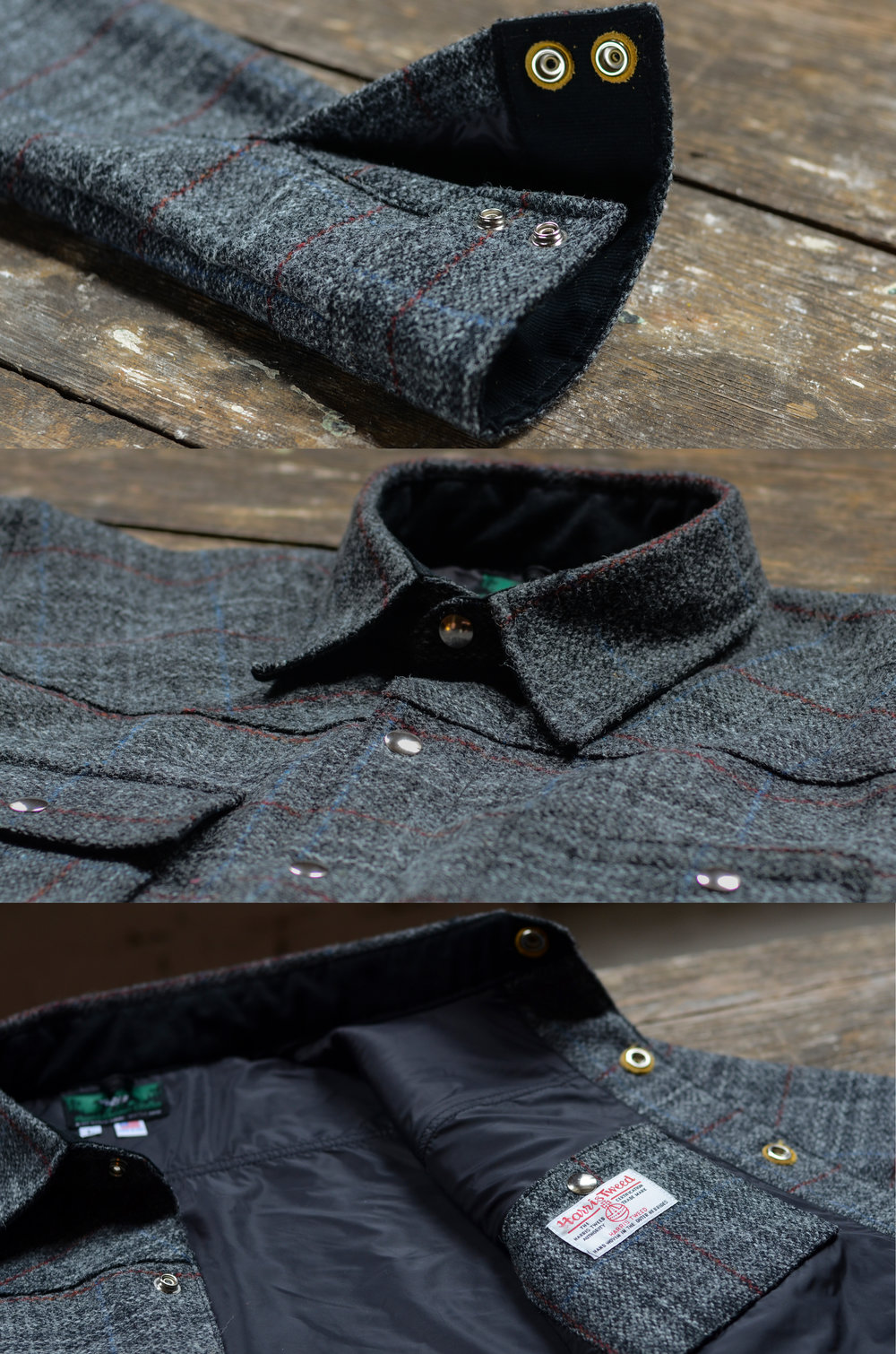 Black Bear Brand Grey Check Plaid (Harris Tweed)