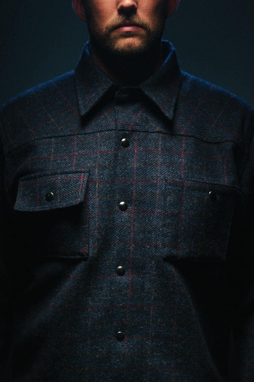 Black Bear Brand Navy Herringbone Plaid (Harris Tweed)