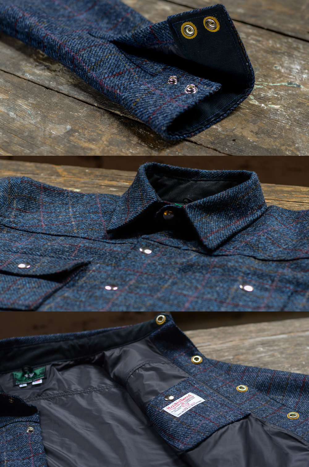 Black Bear Brand Navy Herringbone Plaid (Harris Tweed)