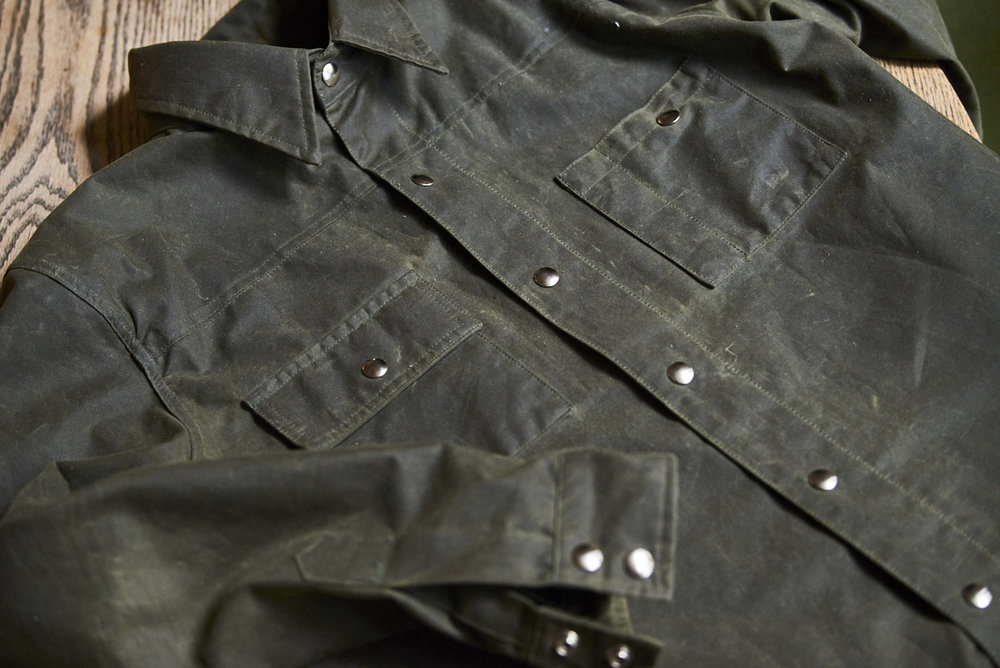 Black Bear Brand hunter green wax canvas jacket