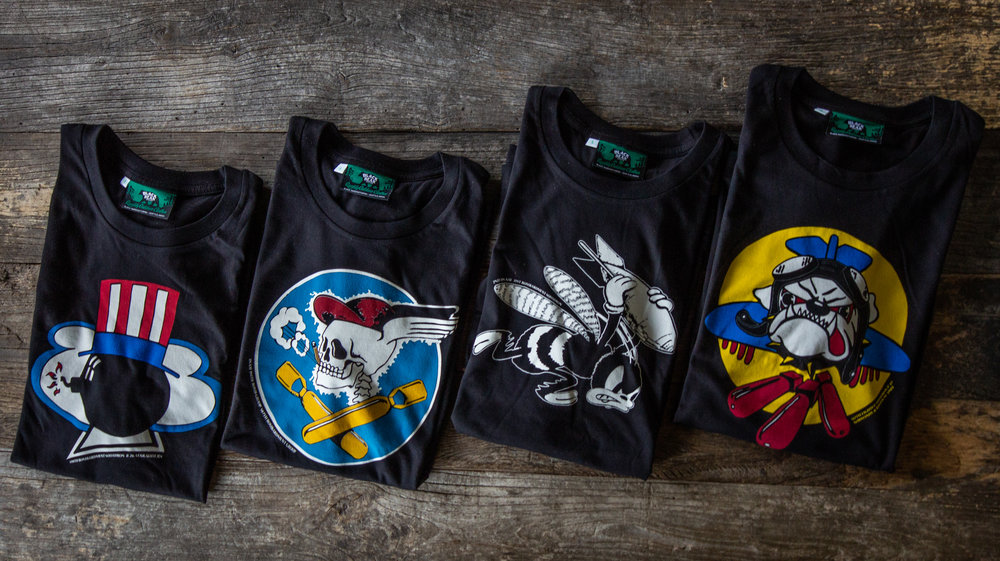 Black Bear Brand bomber squadron art t shirts
