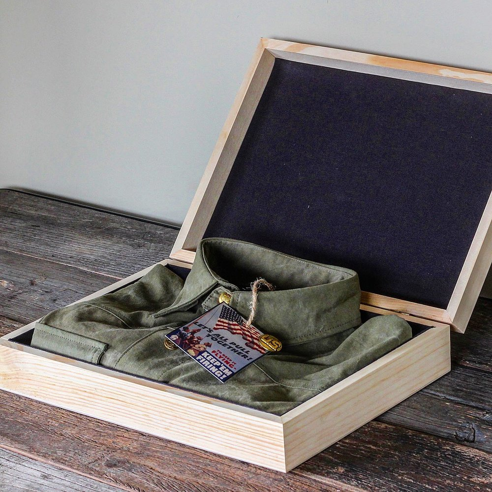 ***Special brass Black Bear Brand - Union Of Makers snaps.  ***Each in its special hand made wood box.  ***WWII pin... pinned to each tag. Jackets release 6/14 (Flag Day Check out more details on the jackets in the