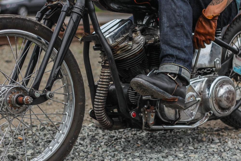 Black Horsehide Engineer Boot with exclusive Silver Wokini x Black Bear Brand Buckle