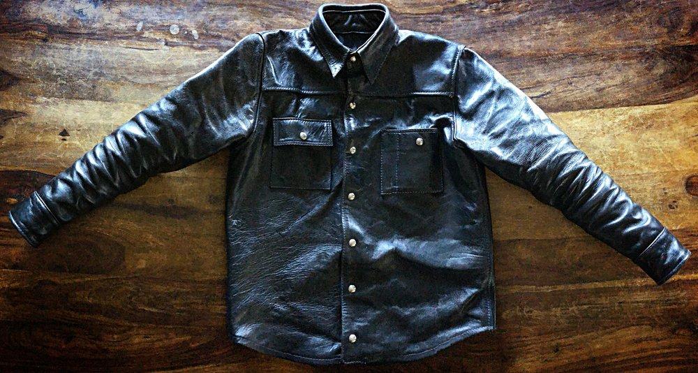 Black Bear Brand x Langlitz horsehide jacket in black