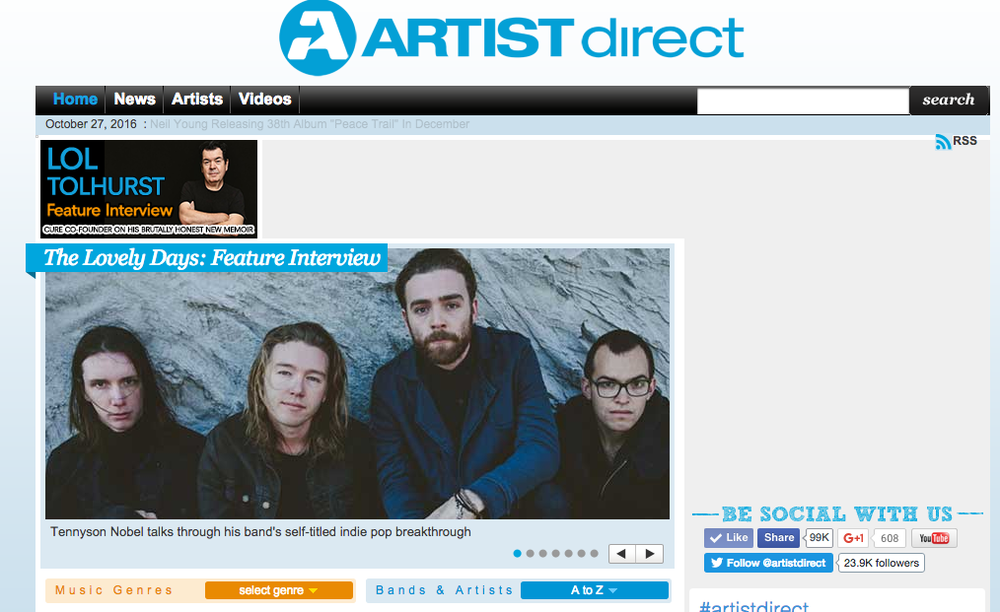 Thanks to ArtistDirect.com for the Feature.