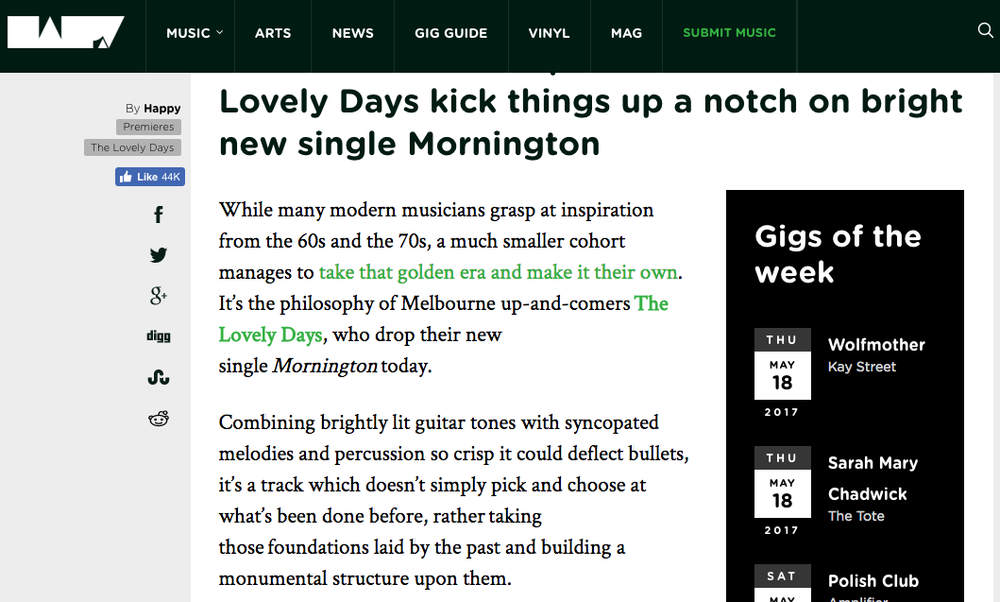 Thanks to hhhappy.com for the awesome 'Mornington' Single Premiere. http://hhhhappy.com/premiere-the-lovely-days-drop-new-single-mornington/