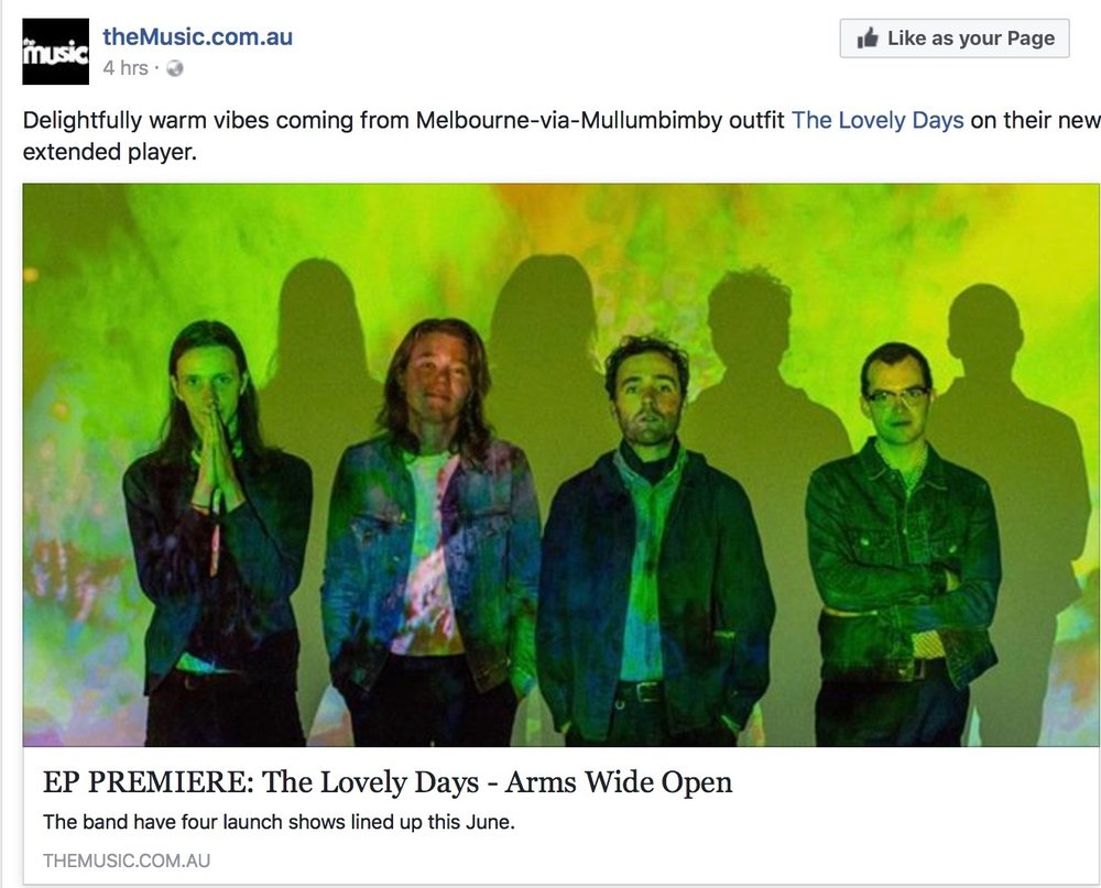 New EP review - Thanks to TheMusic.com...'The band's refined retro influences are obvious from the opening strains of sunny opener Mornington, overflowing with psychedelic pop-rock vibes that would be effortlessly at home on any '60s or '70s best-of compilation.' Read & Listen :  http://themusic.com.au/music/streams/2017/05/18/ep-premiere-the-lovely-days-arms-wide-open/