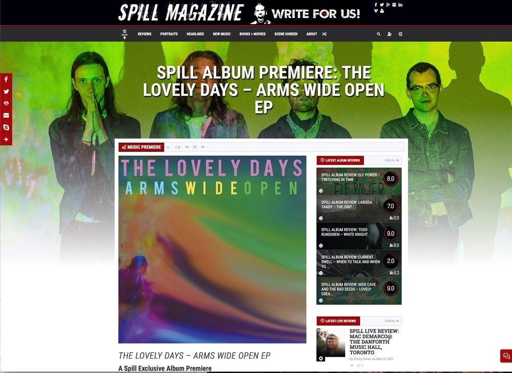 BIG thanks to Toronto's @spillmagazine for the PREMIERE of our ARMS WIDE OPEN EP....Spill offers music news, reviews, interviews & contests. Check em out, they've been big supporters of us! http://spillmagazine.com/spill-album-premiere-lovely-days-arms-wide-open-ep/