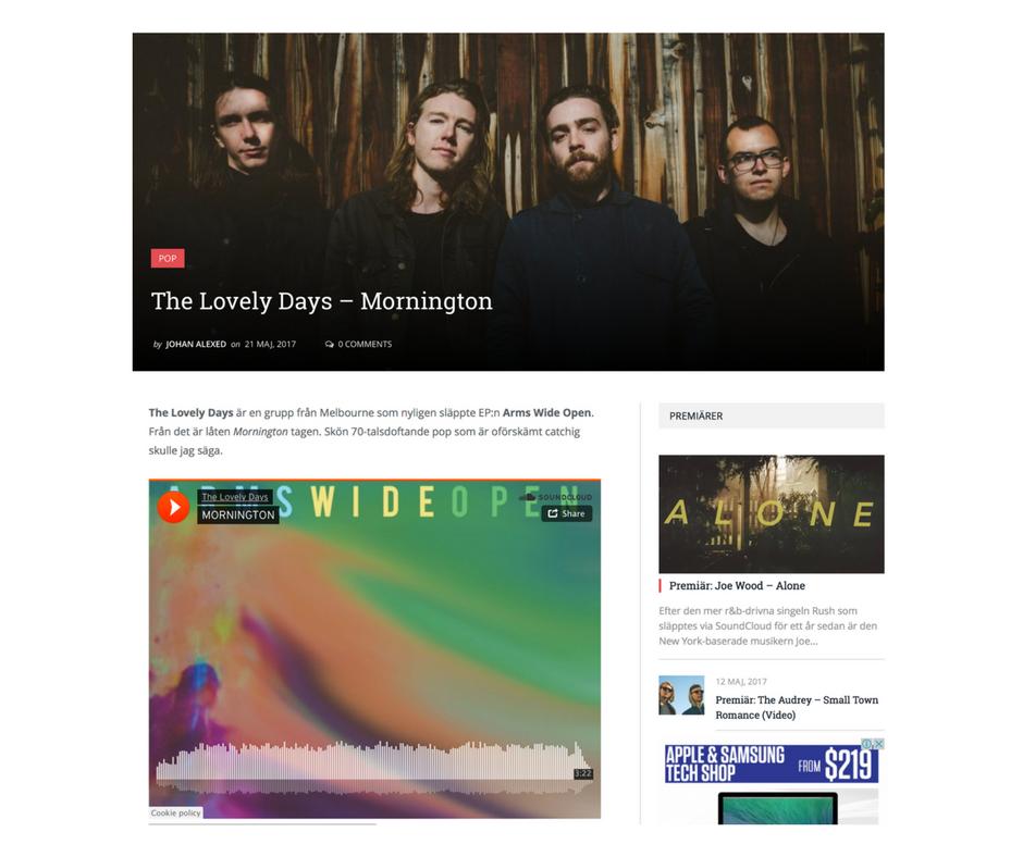 The Lovely Daysär en grupp från Melbourne som nyligen släppte EP:n Arms Wide Open. Från det är låten Morningtontagen. Skön 70-talsdoftande pop som är oförskämt catchig skulle jag säga. http://popmuzik.se/2017/05/lovely-days-mornington/