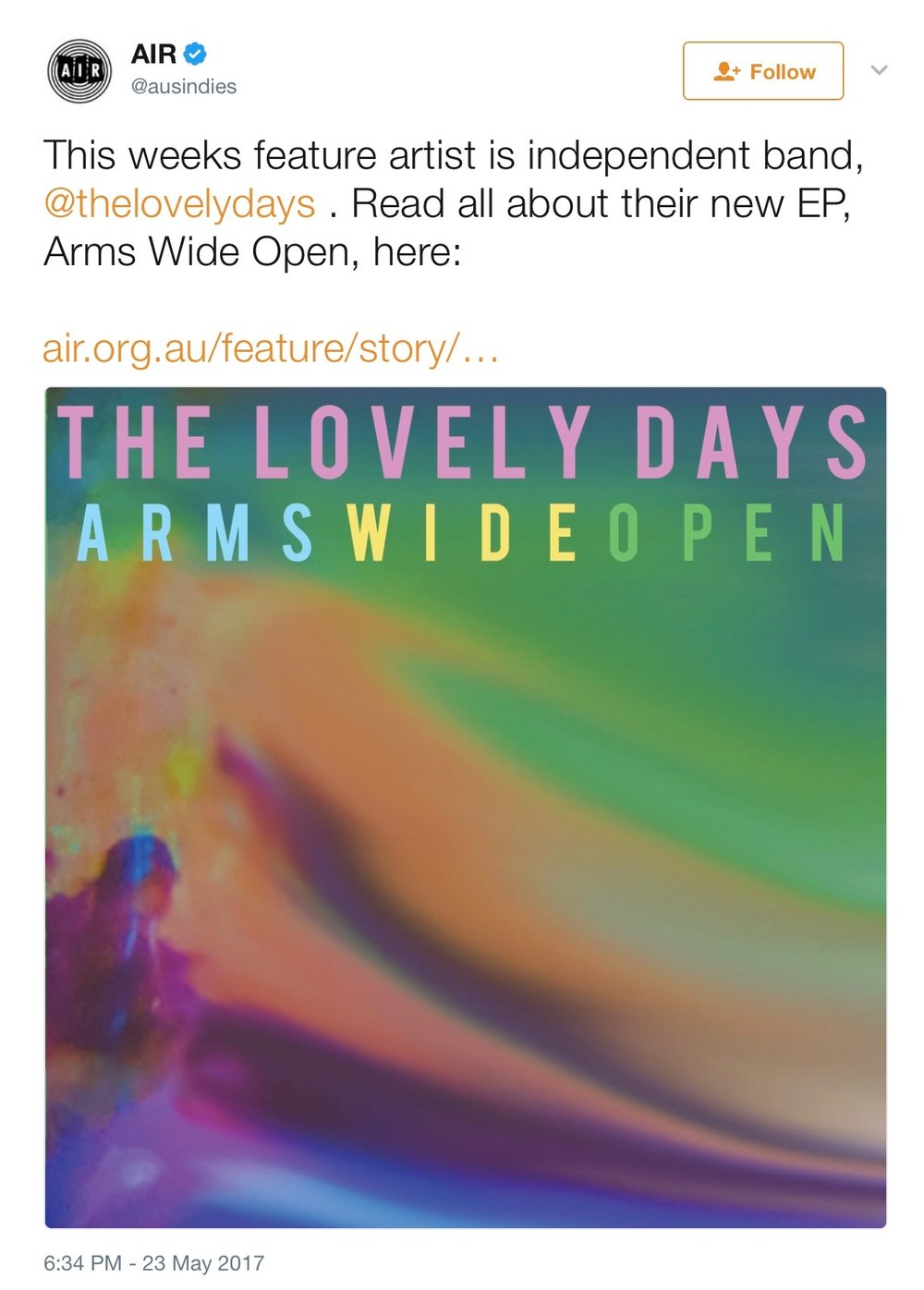 Read More -  https://www.air.org.au/feature/story/the-lovely-days-arms-wide-open
