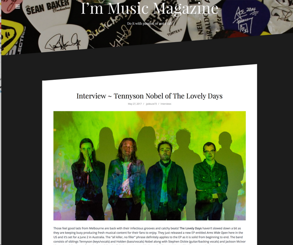 "'The ""all killer, no filler"" phrase definitely applies to the EP as it is solid from beginning to end'..Im Music Magazine - http://www.immusicmag.com/2017/05/interview-tennyson-nobel-of-the-lovely-days/"