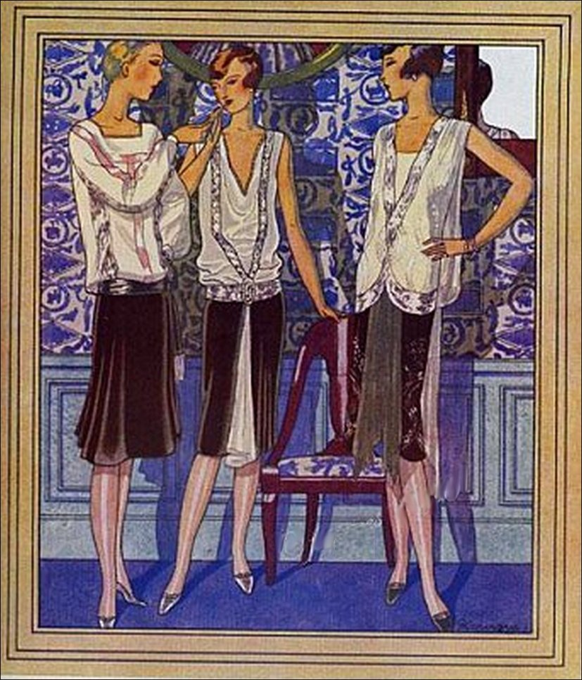 An illustration of three women chatting inside someone's home wearing 1920s drop waist dresses