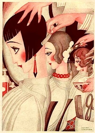 An illustration of three women at a hairdresser getting 1920s bob haircuts