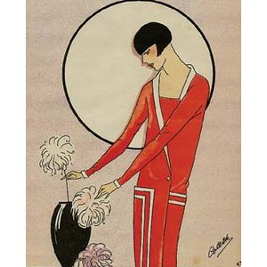 An art deco illustration of a woman in a red drop waist dress tending to a vase