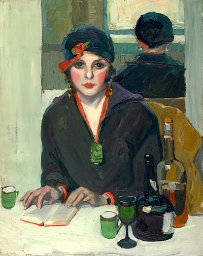 A painting of an art deco era woman sitting at a table with a book and bottle of wine