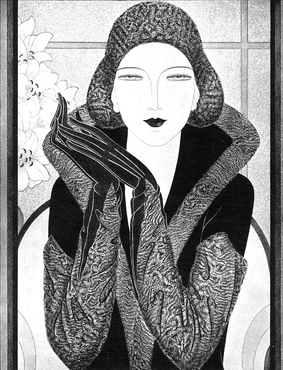 An illustration of a woman in 1920s art deco era fashion with matching cloche hat and gloves