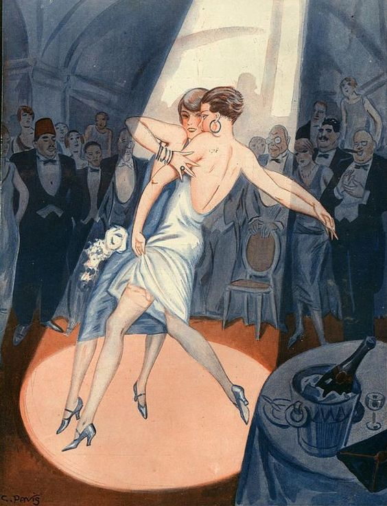 A 1920s illustration of two art deco era women dancing together in the spotlight