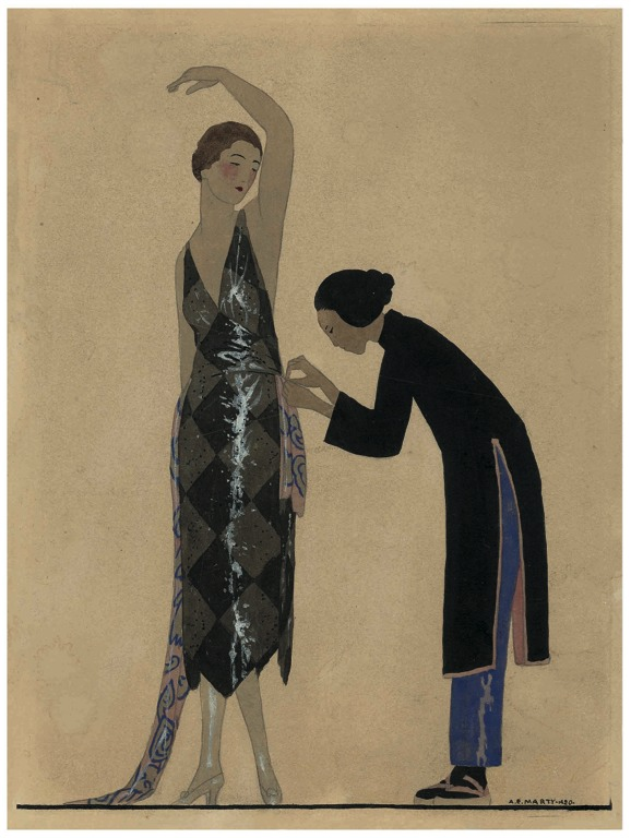 A 1920s illustration of a woman being measured by a seamstress