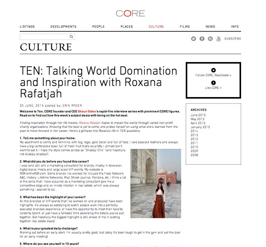 TEN: Talking World Domination and Inspiration with Roxana Rafatjah   http://corenyc.com/culture/2015/06/ten-talking-world-domination-and-inspiration-with-roxana-rafatjah/
