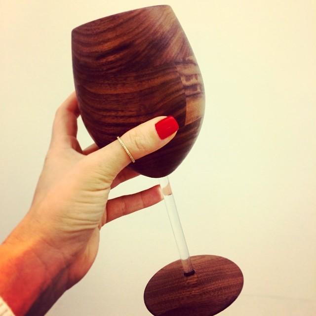"""This Chardonnay tastes extra oaky tonight."" #zinger! #woodenwineglasses #davidrasmussen"
