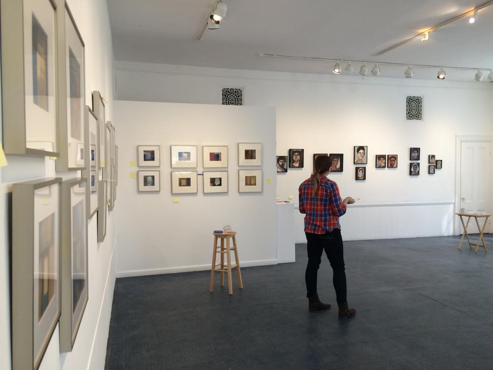Shea, installing work at the Kathryn Schultz Gallery, 2015