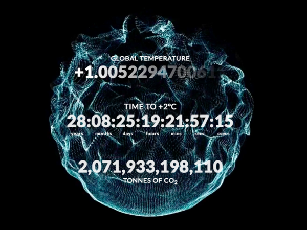 "Climate Clock   We all now know that the global average temperature passing the threshold of 2° is the point where really bad things start to happen and it becomes much more difficult to slow down the devastating effects of climate change. But if you look online and in the media, it's very hard to find a good reference for when 2° will actually happen. Presently, the 2° target floats abstractly in the public mind. The Climate Clock acts a public line in the sand and says, ""This is the date"".   More"