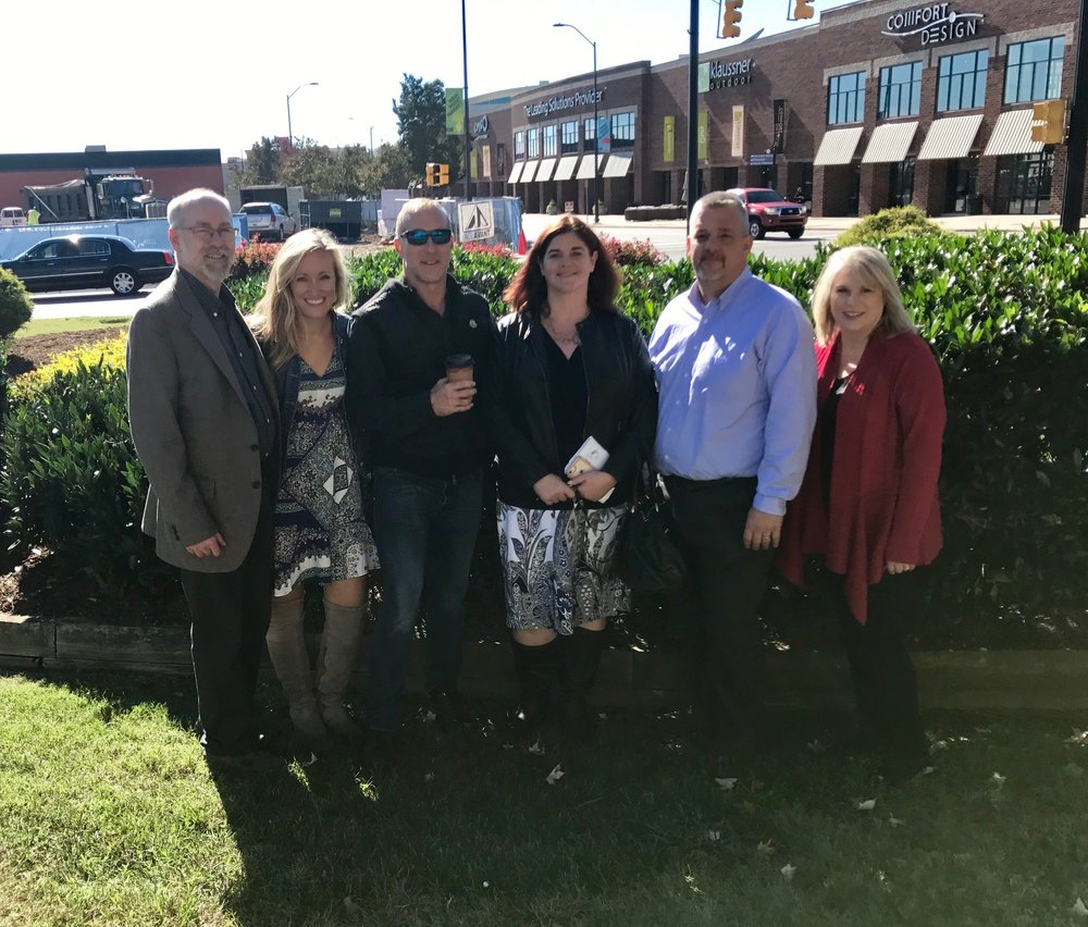 The STI Design Team at High Point Market seeing all their designs come to life! left to right:  Jeff Davis, Katherine Shoaf, Glen Read, Karen Porter, Todd Lavender and Gina Grantt