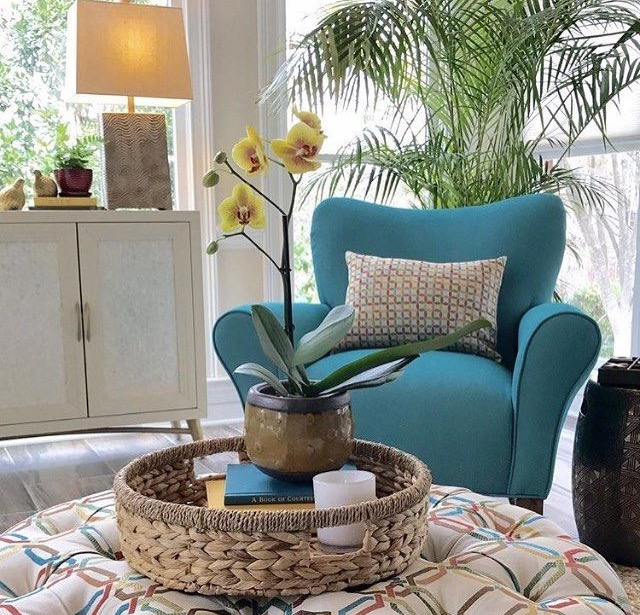 Revolution and Revolution Plus has 500+ hours of lightfastness, making it the perfect choice for a sunny spot in your home! This chair is Revolution Plus pattern Slipcover Twill in color, bottle. Shop it  here !