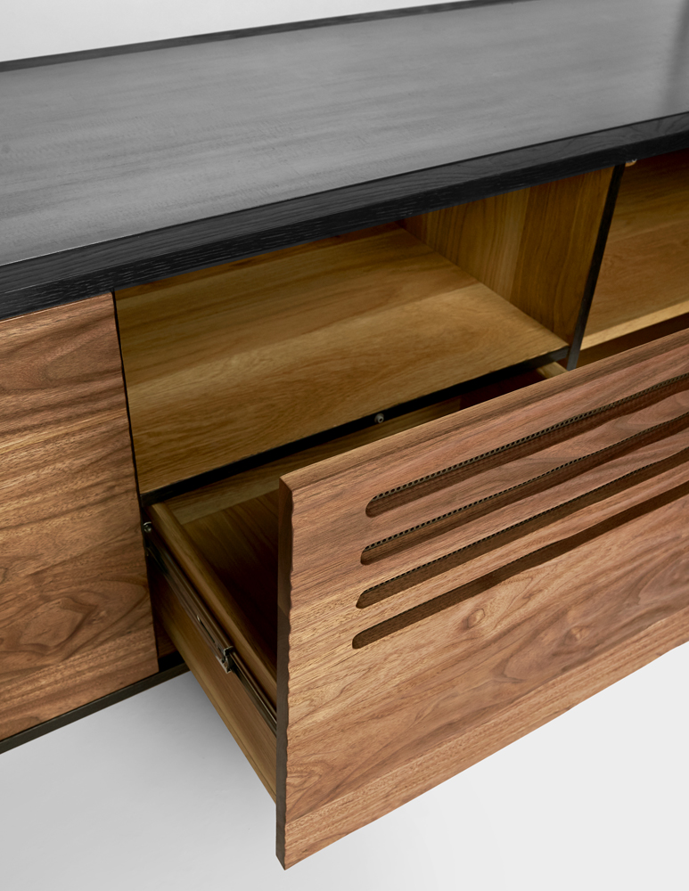 Touch to Open Hardware  Center Drawer and Entertainment Shelf   Download Tear Sheet