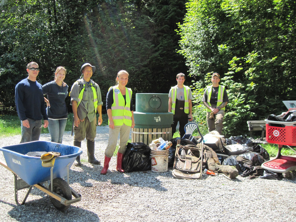 Stream Cleanup delivers a good haul! L-R: Stuart, Lindsay, Rodney, Robbin, Ryan and Chris