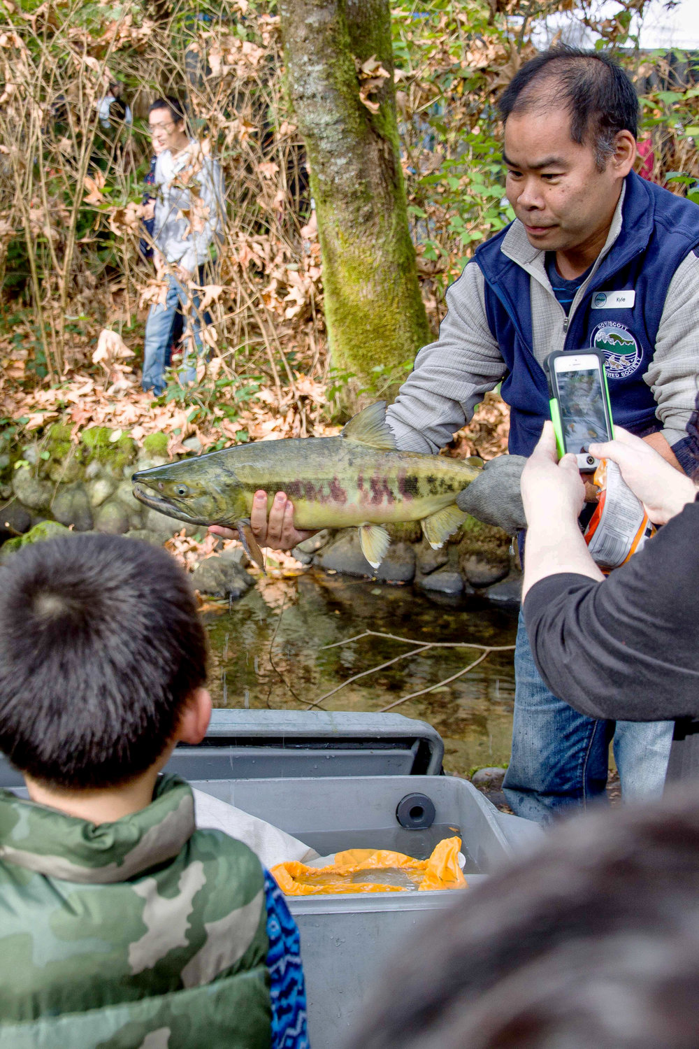 Hoy-Scott Watershed volunteer Kyle Uno holds up a chum salmon for others to see at Salmon Come Home 2015.  (Photo: Ed Paulino / HSWS)
