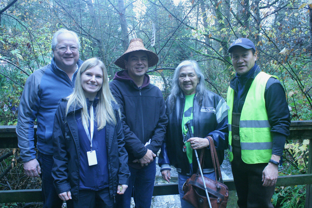 Left to right: Maurice Coulter-Boisvert, DFO; Caresse Selk, City of Coquitlam; Ed Hall, Kwikwetlem First Nation; Beverley Mrockowski, Kwikwetlem First Nation; and Rodney Lee, Hoy-Scott Watershed Society (Photo: Robbin Whachell /HSWS)