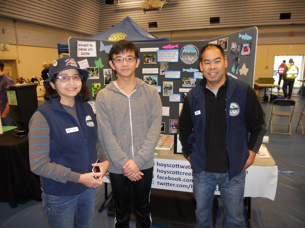 Dulce representing HSWS with colleagues Malcolm and Kyle at the Hyde Creek Salmon Festival in 2015.