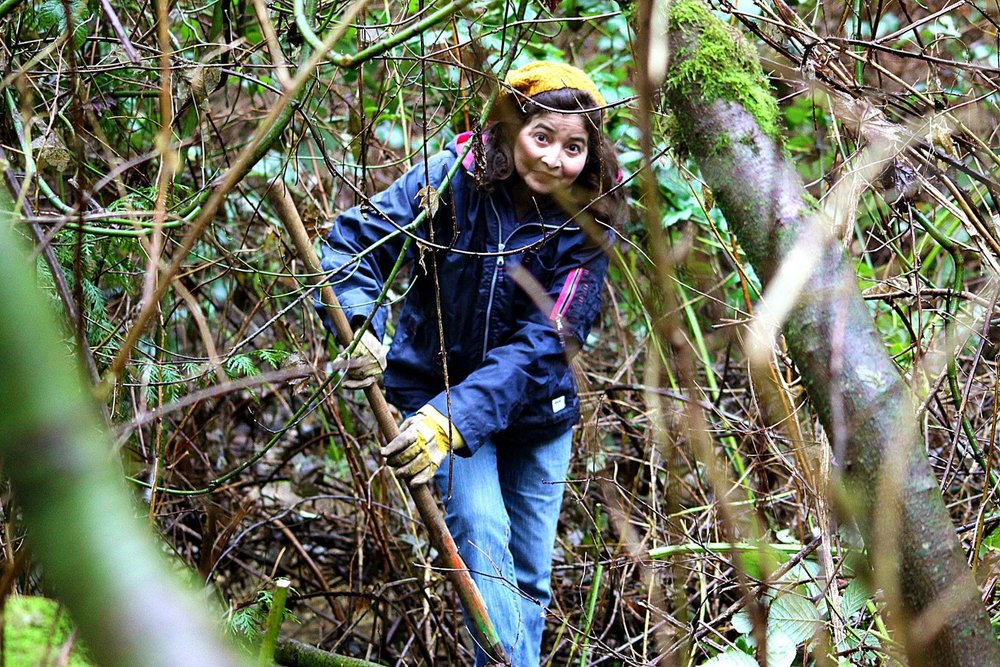 Dulce helping with invasive plant removal at Hoy Creek in 2015