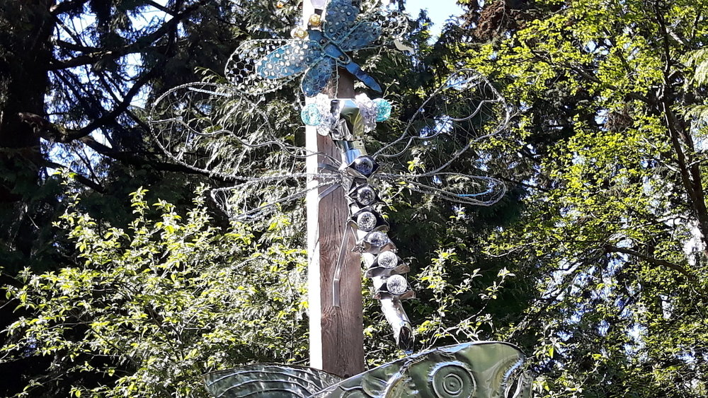 A new dragonfly metal art-piece is proudly displayed above the rearing pond at Hoy Creek Hatchery contributed by local artist, Patricia Gaspar.  All three of the pieces here were created over the years by the same artist.