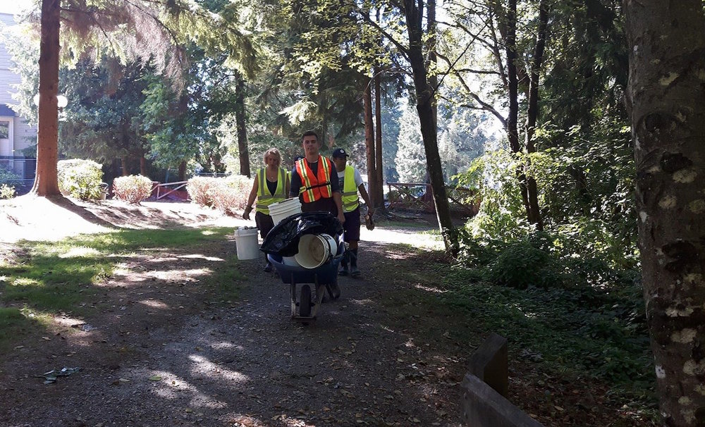 Hoy-Scott Watershed Society members head back with trash and tools after creek clean 2017