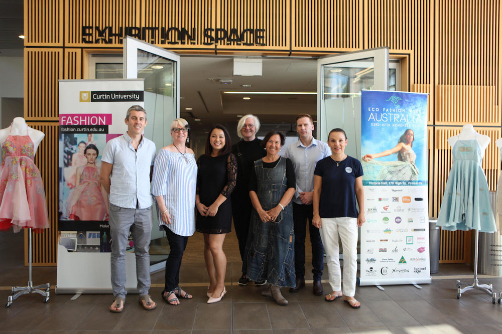 Seen left to right at Curtin University: Jeff Hansen, Managing Director of Sea Shepherd Australia; writer Marilyn R. Wilson, Canada; Edwina Huang, CEO Vivify Textiles, UK; Dr. Anne Farren, Curtin University Fashion Dept., Australia; Jane Milburn, Textile Beat Australia; Ben Lazzaro, Deputy Chief Executive and Marketing and Communications Manager, Australian Made Campaign Ltd.; and Robbin Whachell, Hoy-Scott Watershed Society, Canada. Photo credit to Aidan Green for Eco Fashion Week Australia
