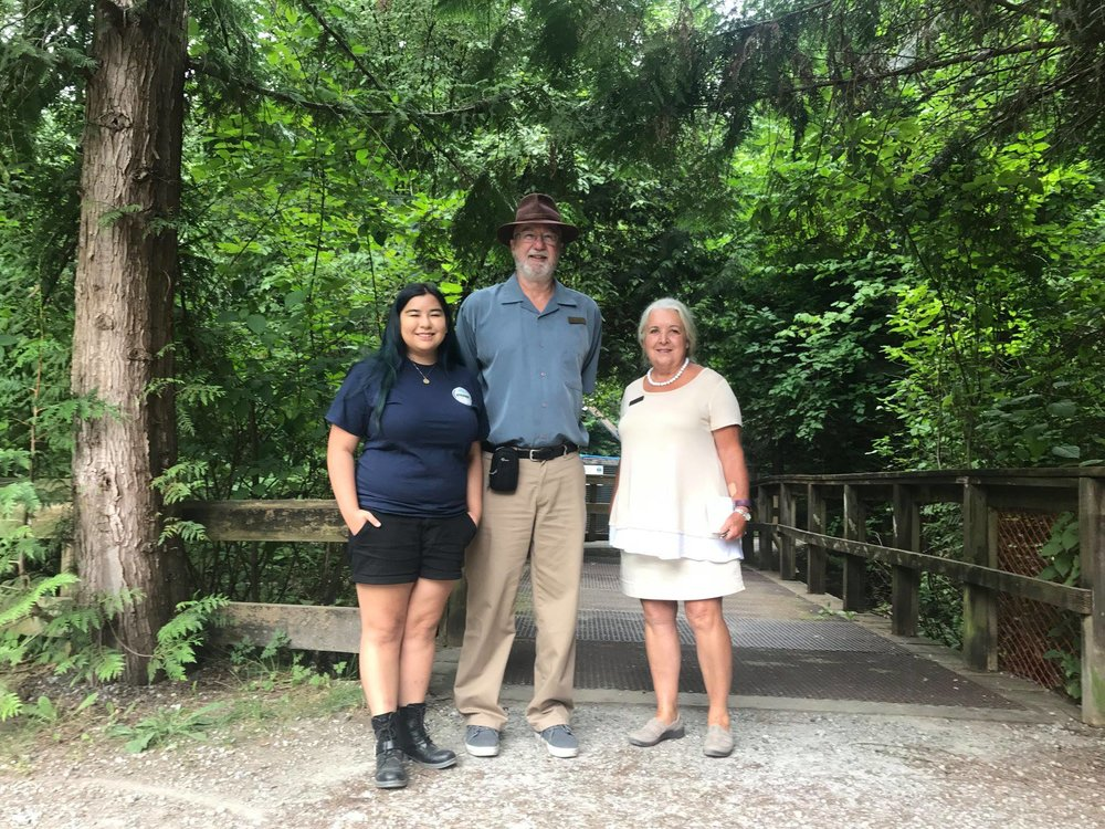 Left to right: Maya Uno of Hoy-Scott Watershed Society, Jim Baird and Evelyn Alemanni of Communities in Bloom.