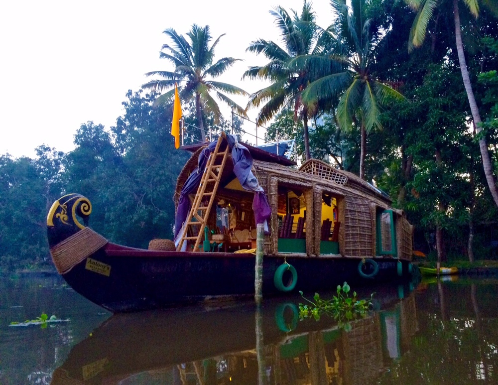 Home for the night; an eco-friendly houseboat! Alleppey, Kerala, India