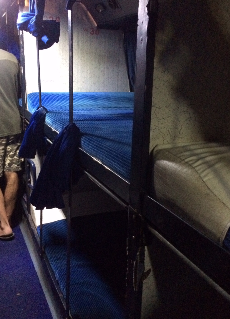 Double berths on a Paulo Travels sleeper bus.