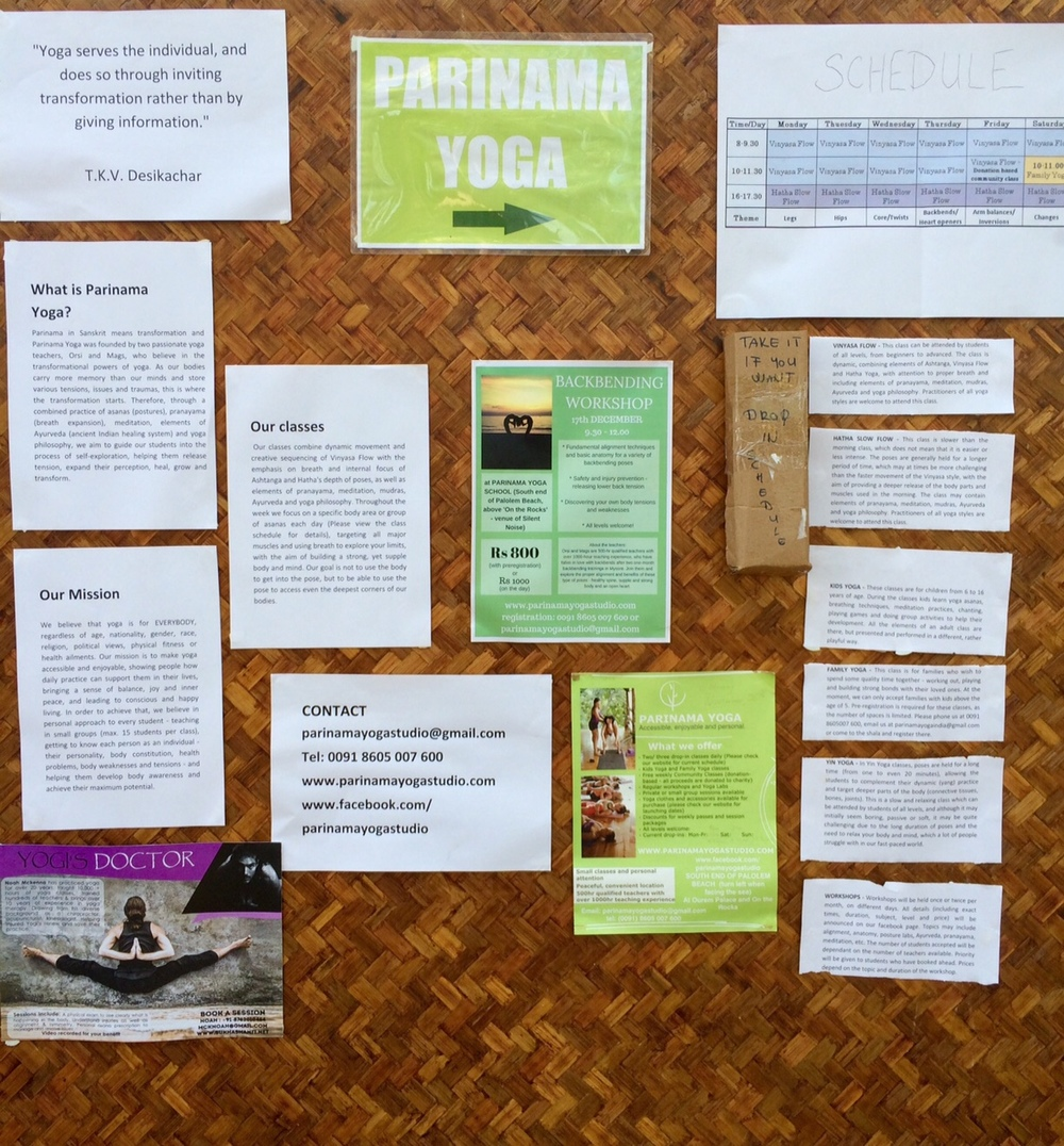 Palolem, Goa, India Bulletin board at Parinama Yoga - notice everything is in English!