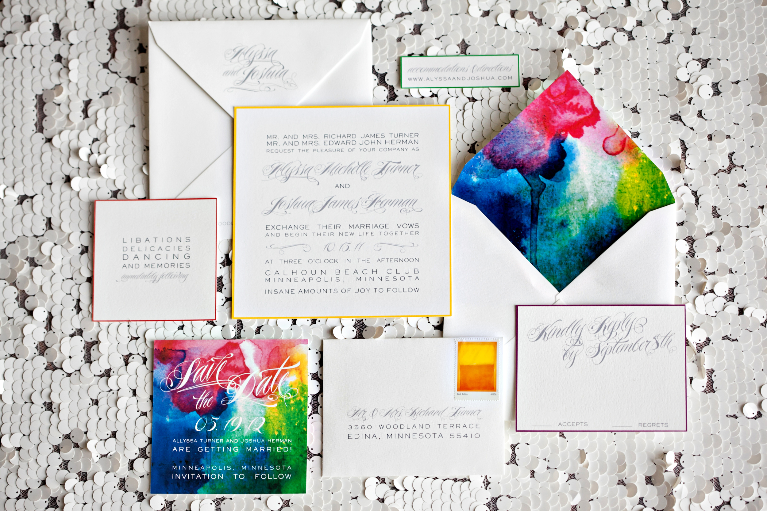 A very cool and unique rainbow invitation suite