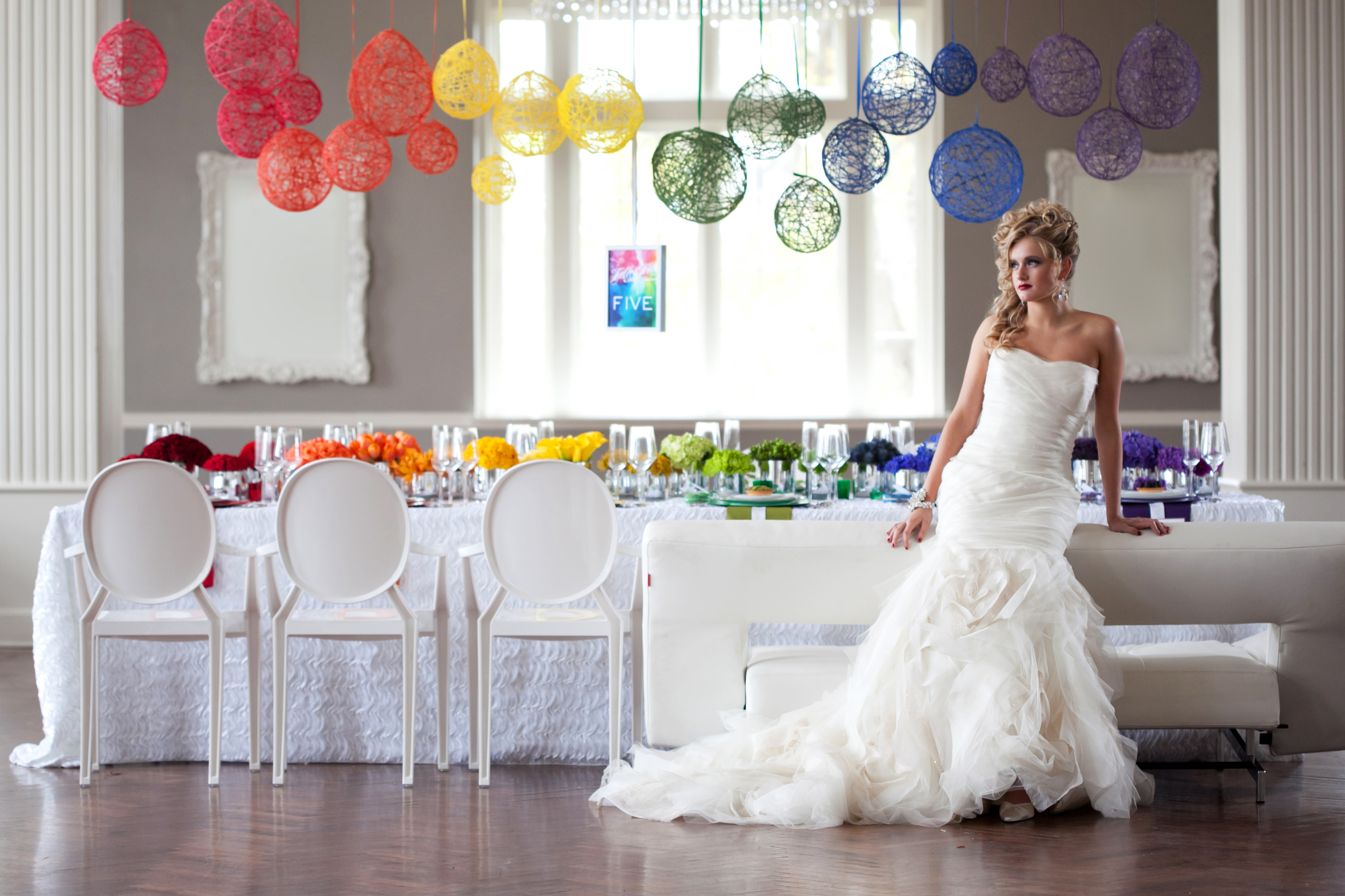 A colorful wedding table
